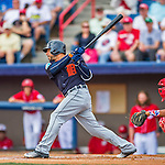 5 March 2016: Detroit Tigers infielder Mike Aviles singles in the 1st inning of a Spring Training pre-season game against the Washington Nationals at Space Coast Stadium in Viera, Florida. The Tigers fell to the Nationals 8-4 in Grapefruit League play. Mandatory Credit: Ed Wolfstein Photo *** RAW (NEF) Image File Available ***