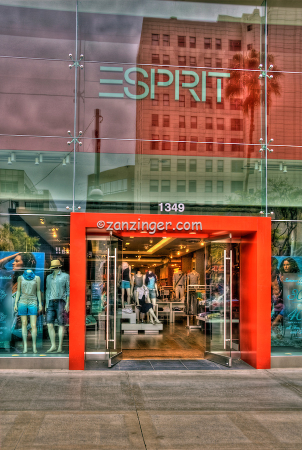 Esprit, Clothing Store, Third Street Promenade, Downtown,  stores, shopping, street mall, Santa Monica; CA;
