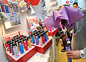 February 9, 2012, Tokyo, Japan - Folding umbrellas as small as toy dolls are on display in the Tokyo International Gift show at the Big Sight in Tokyo on Thursday, February 9, 2012. A total of 2,500 companies, including 220 from 22 foreign countries and regions, showcased three million amazing new products during the three-day exhibition. (Photo by Natsuki Sakai/AFLO) AYF -mis-