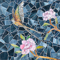 Chinoiserie, a handmade mosaic shown in Emerald, Tourmaline, Labradorite, Opal, Tiger's Eye, Amber, Peridot, Champagne, Rose Quartz, and Pearl jewel glass with Marcasite Sea Glass&trade; is part of the Sea Glass&trade; Collection by Sara Baldwin for New Ravenna. <br />