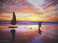 Santa Monica, Joggers, sabot sailboat, Fiery Sunset High dynamic range imaging (HDRI or HDR)