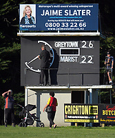 The fulltime scoreboard after the Wairarapa Bush club rugby match between Greytown and Marist at Greytown Rugby Club in Greytown, New Zealand on Saturday, 22 April 2017. Photo: Dave Lintott / lintottphoto.co.nz