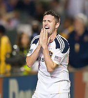 CARSON, CA – August 20, 2011: LA Galaxy forward Robbie Keane (14) disappointment at missing a shot on goal during the match between LA Galaxy and San Jose Earthquakes at the Home Depot Center in Carson, California. Final score LA Galaxy 2, San Jose Earthquakes 0.