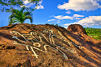 Ancient Caribe rock art, St.Kitts Island, Lesser Antilles, Caribbean Sea. Ancient rock paintings by Native Americans