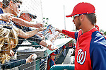6 March 2012: Washington Nationals outfielder Bryce Harper signed autographs prior to a Spring Training game against the Atlanta Braves at Champion Park in Disney's Wide World of Sports Complex, Orlando, Florida. The Nationals defeated the Braves 5-2 in Grapefruit League action. Mandatory Credit: Ed Wolfstein Photo