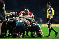 Yann Thomas of Gloucester Rugby looks on at a scrum. Aviva Premiership match, between Harlequins and Gloucester Rugby on December 27, 2016 at Twickenham Stadium in London, England. Photo by: Patrick Khachfe / JMP