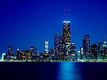 city of Chicago skyline at night