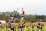 Brian Collins takes a line out .