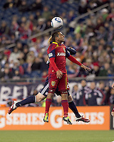 Real Salt Lake forward Paulo Araujo Jr. (23) battles for head ball. In a Major League Soccer (MLS) match, Real Salt Lake defeated the New England Revolution, 2-0, at Gillette Stadium on April 9, 2011.