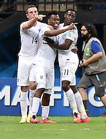 FUSSBALL WM 2014  VORRUNDE    Gruppe D     England - Italien                         14.06.2014 Torjubel nach dem 1:1: Jordan Henderson, Daniel Sturridge und Danny Welbeck (v.l., alle England)