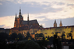 Prague Castle at night in Prague, Czech Republic.
