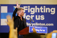 NEWARK, NJ - JUNE 01 : Singer Jon Bon Jovi attends a rally to support U.S. Democratic presidential candidate Hillary Clinton on June 01, 2016 in Newark, New Jersey. Hillary Clinton only needs 73 delegates to clinch the party's nomination. on June 7 New Jersey will hold its primary elections, a state that will be awarding 142 total Democratic delegates. Photo by VIEWpress