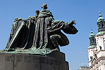 Jan Hus Monument<br /> In the north-east corner of the square is the large Jan Hus Monument. It was erected in 1915 to mark the 500th anniversary of the reformer's death at the stake. Jan Hus, born in 1369, was besides a reformer also a fervent Czech nationalist. In 1415 he was declared a heretic at the council of Constance; Prague, Czech Republic, historical center listed as World Heritage by UNESCO, the old town (Stare Mesto), Old town Square (Staromestske namesti), Europe