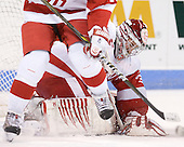 Kieran Millan (BU - 31) - The visiting Merrimack College Warriors tied the Boston University Terriers 1-1 on Friday, November 12, 2010, at Agganis Arena in Boston, Massachusetts.