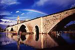 Rhone River water levels are high at Pont d'Avignon, Avignon, France
