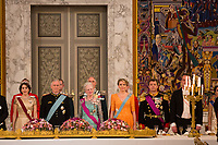 Le roi Philippe de Belgique et la reine Mathilde de Belgique en visite d'Etat au Danemark, sont invit&eacute;s au banquet d'Etat au Palais de Christiansborg, par le prince h&eacute;ritier Joachim de Danemark  la princesse Marie de Danemark, la princesse Mary de Danemark, le prince Frederik de Danemark et la reine Margrethe II de Danemark.<br /> Danemark, Copenhague, 28 mars 2017.<br /> King Philippe of Belgium &amp; Queen Mathilde of Belgium during a State Visit to Copenhagen in Denmark are attending the State Banquet at Christiansborg Palace with Crown Prince Joachim of Denmark,  Princess Marie of Denmark, Princess Mary of Denmark , Prince Frederik of Denmark and Queen Margrethe II of Denmark.<br /> Denmark, Copenhagen, March 28, 2017.