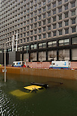 New York, New York.October 30, 2012..Severe flooding at the Brooklyn-Battery tunnel in lower Manhattan, where vehicles have been completely submerged under water. The tunnel crosses under the East river connecting the borough of Brooklyn with the island of Manhattan.