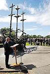 Pat Carey, T.D., Minister for Community , Equality and Gaeltacht Affairs and Chair of the National Famine Commemoration Committee addressing the crowd after the wreath laying cermony that took place in Murrisk Co Mayo yesterday....Pic Conor McKeown