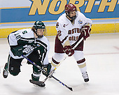 Tim Kennedy (Michigan State - Buffalo, NY) and Dan Bertram (Boston College - Calgary, AB) battle. The Michigan State Spartans defeated the Boston College Eagles 3-1 (EN) to win the national championship in the final game of the 2007 Frozen Four at the Scottrade Center in St. Louis, Missouri on Saturday, April 7, 2007.
