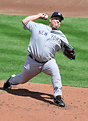 New York Yankees pitcher Bartolo Colon (40) pitches in the second inning against the Baltimore Orioles at Oriole Park at Camden Yards in Baltimore, Maryland in the first game of a doubleheader on Sunday, August 28, 2011.  .Credit: Ron Sachs / CNP.(RESTRICTION: NO New York or New Jersey Newspapers or newspapers within a 75 mile radius of New York City)