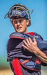 4 March 2013: Minnesota Twins catcher Dan Rohlfing stretches out during a Spring Training game against the St. Louis Cardinals at Roger Dean Stadium in Jupiter, Florida. The Twins shut out the Cardinals 7-0 in Grapefruit League play. Mandatory Credit: Ed Wolfstein Photo *** RAW (NEF) Image File Available ***