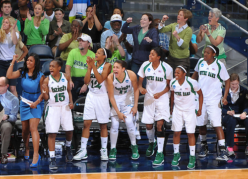 Mar 20, 2012; The Notre Dame bench cheers during the first half against the California Golden Bears in the second round of the 2012 NCAA women's basketball tournament...Photo by Matt Cashore/University of Notre Dame