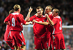 Wales celebrate after Aron Ramsey equalises for Wales. England U21 V Wales U21, Uefa European U21 Championship qualifying play-off second leg &copy; Ian Cook IJC Photography iancook@ijcphotography.co.uk www.ijcphotography.co.ukUnholy Alliance Tour 2008,