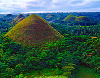 The Chocolate Hills - 1268 Nearly Identical Hills of Uplifted and Eroded Coral deposits, Chocolate Hills National Geological Monument, Island of Bohol,  Philippines