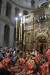 Israel, Jerusalem, Greek Orthodox Patriarch Theophilus III at the Church of the Holy Sepulchre on Pentecost