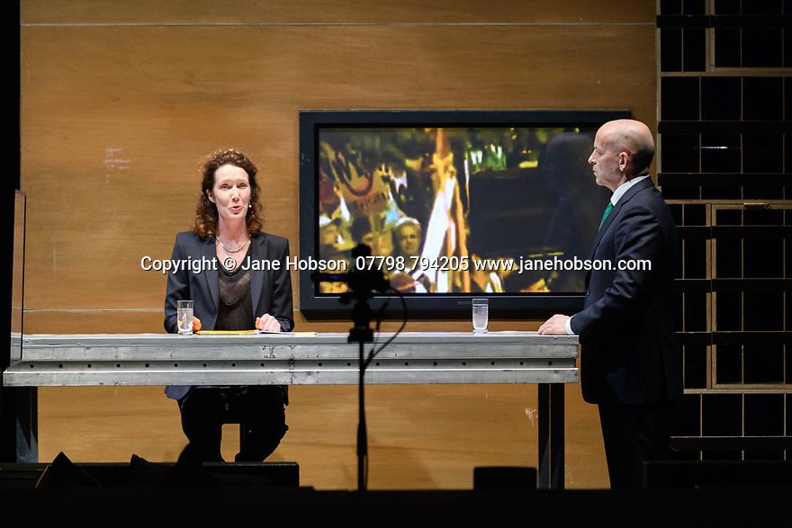 Toneelgroep Amsterdam presents<br /> &quot;Roman Tragedies&quot;, a seamless interpretation of William Shakespeare's &quot;Coriolanus&quot;, Julius Caesar&quot; and &quot;Anthony and Cleopatra&quot;, in the Barbican Theatre. The Barbican first introduced Toneelgroep Amsterdam to UK audiences in 2009 with this same production. Picture shows: Coriolanus - Chris Nietvelt (Anchorman), Bart Slegers (Aufidius)