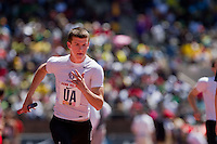 Tyler Gallen of Cardinal O'Hara, anchors his team to victory in the High School Boys' 4x400 Philadelphia Catholic on April 24 at the Penn Relays. O'Hara ran 3:19.35.