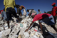 Earthquake victims scavenge for building materials left over from destroyed buildings near a refugee camp in Port au Prince, Haiti.(Australfoto/Douglas Engle)