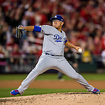 13 October 2016: Los Angeles Dodgers pitcher Julio Urias on the mound during the NLDS Game 5 against the Washington Nationals at Nationals Park in Washington, DC. The Dodgers edged out the Nationals 4-3, to take Game 5, and the Series, 3 games to 2, moving on to the National League Championship against the Chicago Cubs. Mandatory Credit: Ed Wolfstein Photo *** RAW (NEF) Image File Available ***