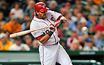 6 September 2011: Washington Nationals outfielder Michael Morse in action against the Los Angeles Dodgers at Nationals Park in Washington, District of Columbia. The Dodgers defeated the Nationals 7-3 to take the second game of their 4-game series. Mandatory Credit: Ed Wolfstein Photo