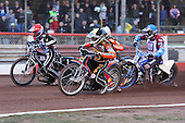 Heat 10: Peter Karlsson (yellow), Lee Richardson (red), Kauko Niemien (blue) and Ludvig Lindgren - Lakeside Hammers vs Wolverhampton Wolves - Elite League Speedway at Arena Essex Raceway - 16/05/11 - MANDATORY CREDIT: Gavin Ellis/TGSPHOTO - Self billing applies where appropriate - Tel: 0845 094 6026