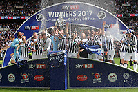 Millwall celebrate winning the 2017 Division One Play-Off Final during Bradford City vs Millwall, Sky Bet EFL League 1 Play-Off Final at Wembley Stadium on 20th May 2017
