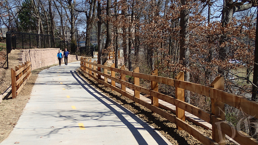 NWA Democrat-Gazette/FLIP PUTTHOFF <br /> A reroute of the Northwest Arkansas Razorback Greenway in Rogers, seen here on March 3 2017, meanders north toward Bentonville after meadering through Village on the Creeks retail center.