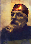 Illuminated portrait of sculpter Auguste Rodin.