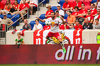 Brandon Barklage (25) of the New York Red Bulls. The New York Red Bulls defeated the Houston Dynamo 2-0 during a Major League Soccer (MLS) match at Red Bull Arena in Harrison, NJ, on June 30, 2013.