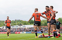 Picture by Allan McKenzie/SWpix.com - 13/05/2017 - Rugby League - Ladbrokes Challenge Cup - Castleford Tigers v St Helens - The Mend A Hose Jungle, Castleford, England - Castleford's Jesse Sene-Lefao congratulates Greg Eden on his try.