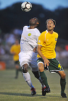Chinedu (Bright) Dike-Portland Timbers, Tim Velten-AC St Louis #4...AC St Louis defeated Portland Timbers 3-0 at Anheuser-Busch Soccer Park, Fenton, Mssouri.
