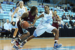 12 December 2012: NC Central's Tenika Neely (left) and North Carolina's N'Dea Bryant (22). The University of North Carolina Tar Heels played the North Carolina Central University Eagles at Carmichael Arena in Chapel Hill, North Carolina in an NCAA Division I Women's Basketball game. UNC won the game 49-21.