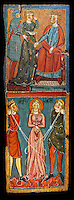 Gothic painted wood panels with scenes of the Martyrdom of Saint Lucy<br /> Circa 1300. Tempera on wood. Date Circa 1300. Dimensions 68.3 x 25.3 x 1 cm. From the parish church of Santa Ll&uacute;cia de Mur (Gu&agrave;rdia de Noguera, Pallars Juss&agrave;). National Museum of Catalan Art, Barcelona, Spain, inv no: 035703-CJT