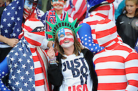 Glasgow, Scotland - Saturday, July 28, 2012:  Fans of the USA Women's soccer team during a USA  3-0 win over Colombia in the first round of the Olympic football tournament at Hamden Park.
