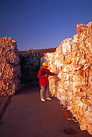 Recycling yard: Bales of stacked paper and cardboard