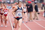 Kirsten Kasper of Georgetown runs the anchor leg of the College Women's Distance Medley Championship during the Penn Relays athletic meets on Thursday, April 26, 2012 in Philadelphia, PA.