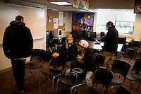 Students hang around after listening to Republican presidential candidate Ron Paul at the Manchester Boys and Girls Club in Manchester, New Hampshire, USA. Paul held a small question and answer session with high school students at the Club's Straight A Academy. Paul is seeking the Republican nomination for president.  At this meeting, Paul opened himself up to any questions the students had.  Straight A Academy is a small, accredited private school that seeks to return to traditional pedagogical methods.