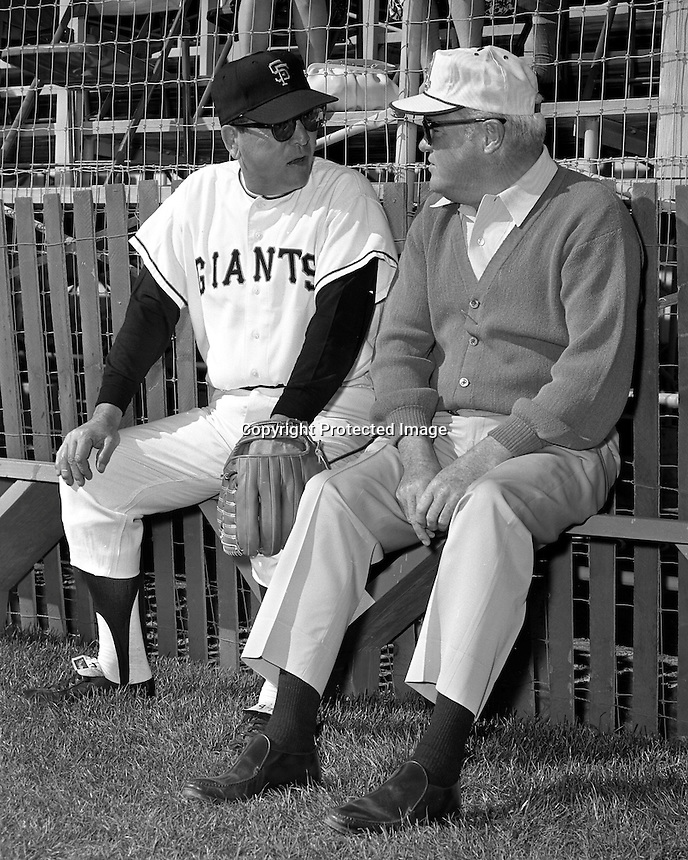 San Francisco Giants Owner Horace Stoneham talking to his manager Herman Franks at their Casa Grande Spring Training site in 1967. (Ron Riesterer photo)