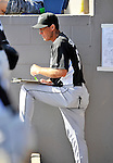 2 March 2011: Florida Marlins pitching coach Randy St. Claire takes notes in the dugout during a Spring Training game against the Washington Nationals at Space Coast Stadium in Viera, Florida. The Nationals defeated the Marlins 8-4 in Grapefruit League action. Mandatory Credit: Ed Wolfstein Photo