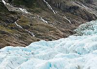Side streams draining after rain into Fox Glacier, Westland Tai Poutini National Park,  South Westland, West Coast, UNESCO World Heritage Area, New Zealand, NZ